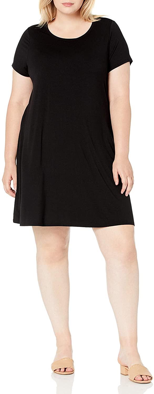 DHgate Essentials Women's Plus Size Short-Sleeve Scoopneck Swing Dress