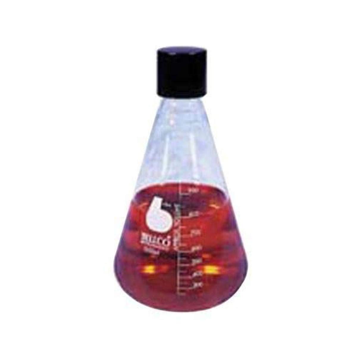Bellco Glass 2514-00125 Borosilicate Glass Graduated Erlenmeyer Flask with Deep-Skirted Black Phenolic Screw Cap, Narrow Mouth, 125mL Capacity (Case of 12)