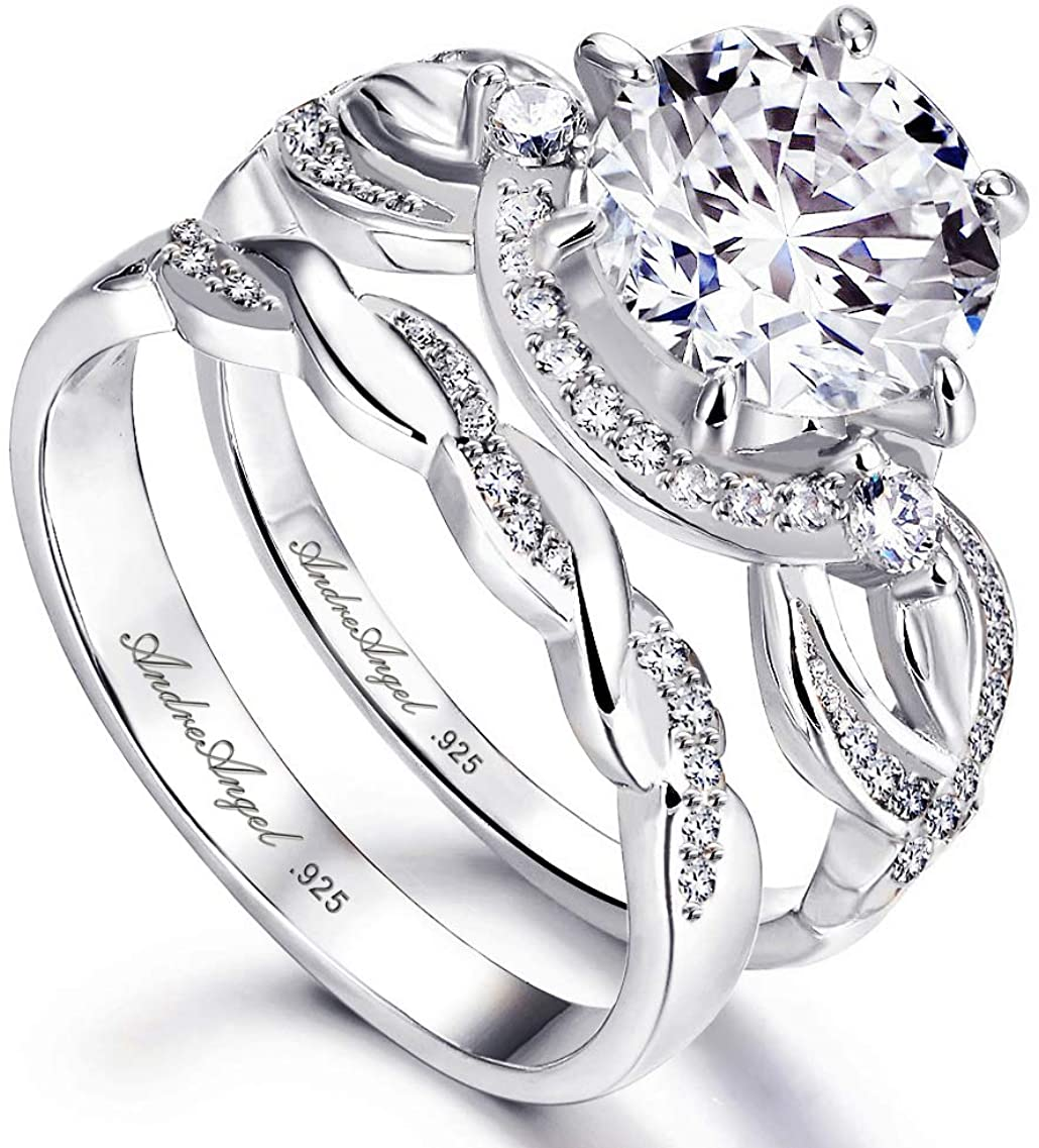 Engagement Ring Set Wedding 100% Solid Sterling Silver 925 Rhodium Plating Cubic Zirconia Stones AAAAA+ Alternative to Diamonds 2.0 Carat Anniversary Valentine Promise Franchelle