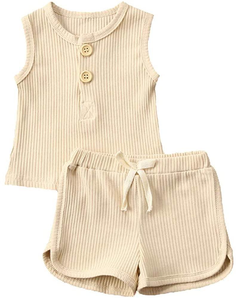 Toddler Baby Girls Boys Summer Ribbed Outfit Sleeveless Tank Tops T-Shirt+Drawstring Shorts 2Pcs Clothes Set