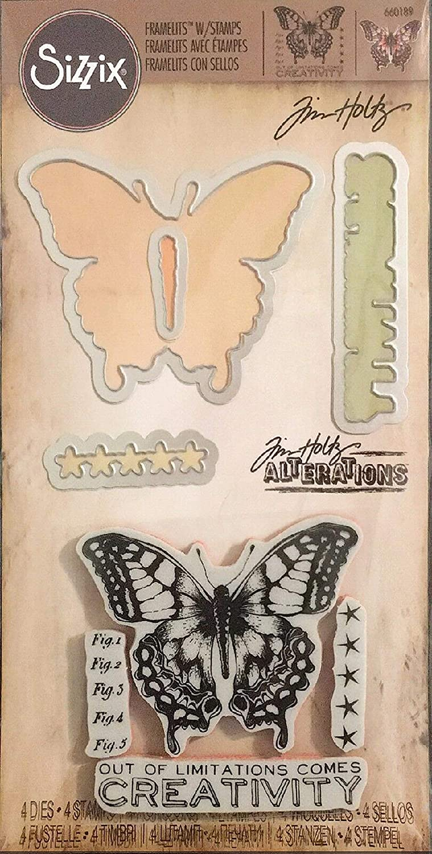 Sizzix Framelits Dies 4/Pkg W/Stamps By Tim Holtz-Limitations