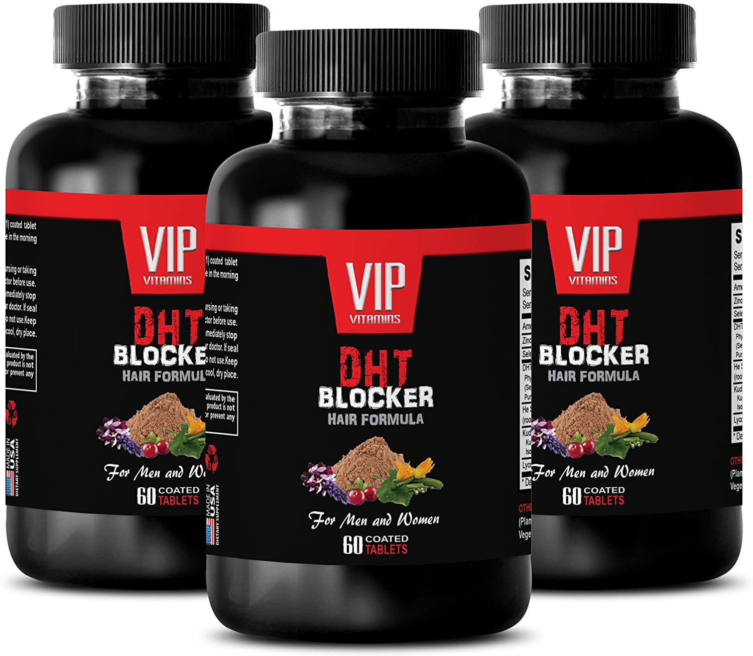 Hair Growth Vitamins for Women - DHT Blocker Hair Formula - for Men and Women - Saw Palmetto Herbal Supplement - 3 Bottles 180 Coated Tablets