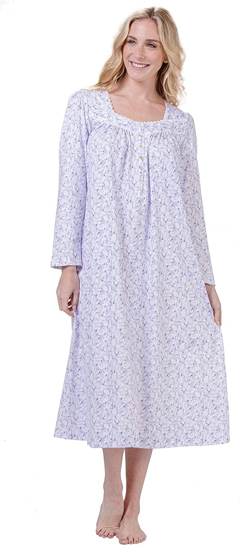 Eileen West Long Sleeve Cotton Knit Nightgown in Plumwood Vine