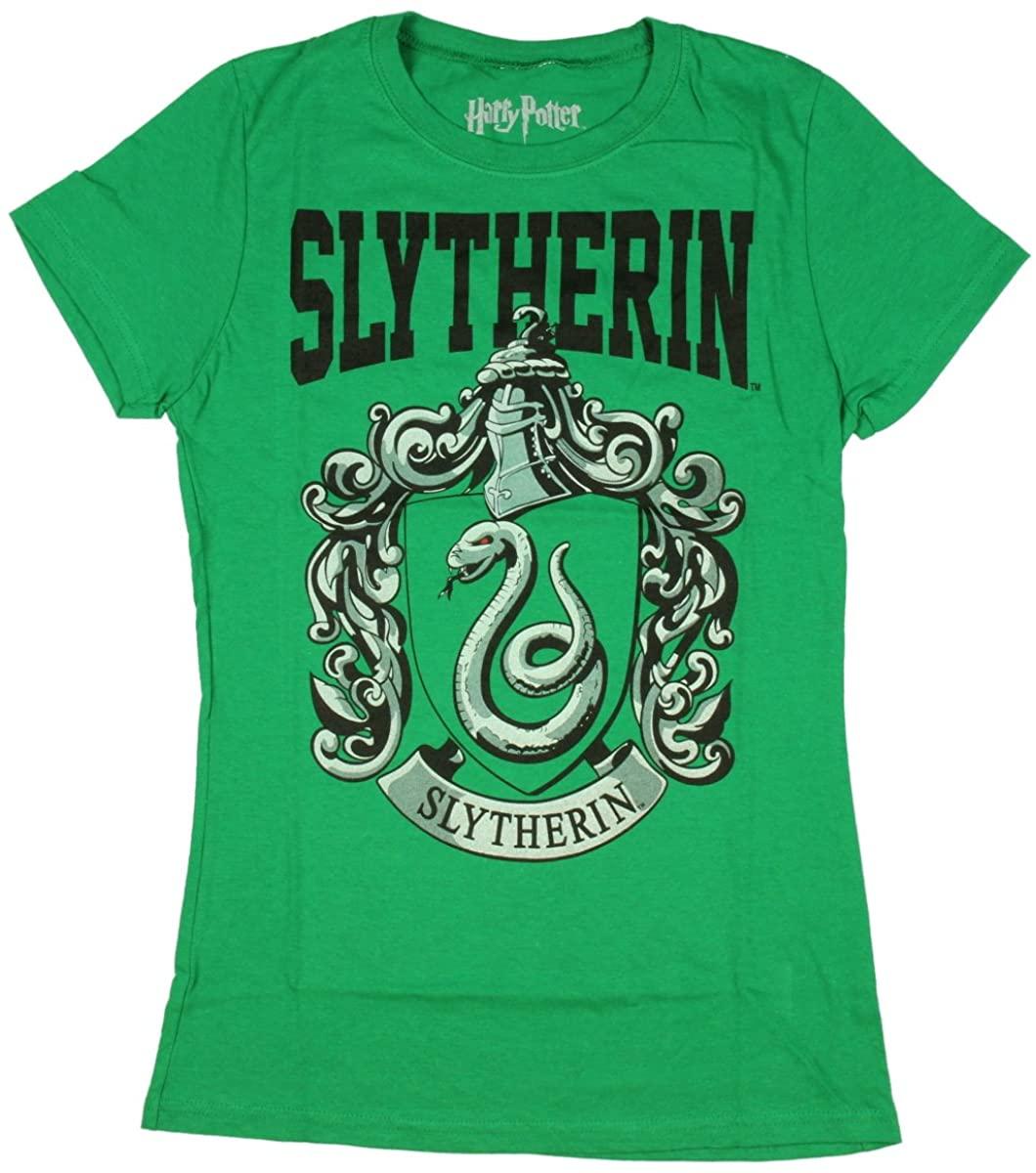 TM & Warner Brothers Entertainment Harry Potter Juniors Slytherin Short Sleeved T-Shirt (XX-Large) Green