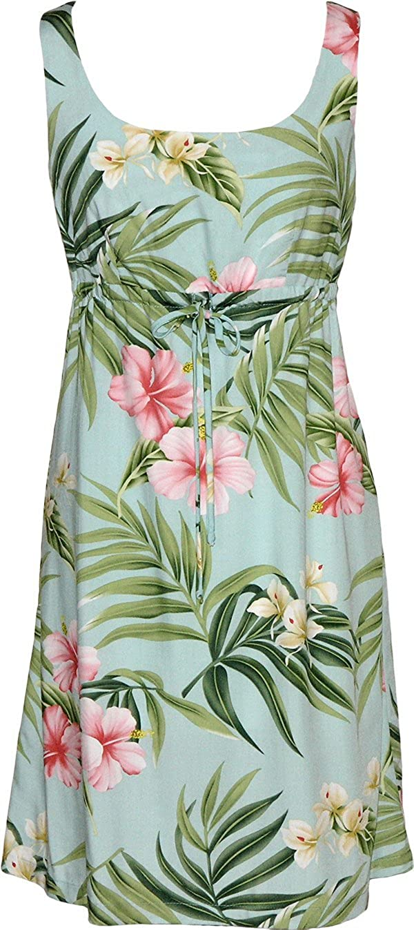 Empire Tie Front Short Tank - Pale Hibiscus Orchid Empire Waist Scoop Square Neck Knee Length Hawaiian Aloha Pullover Dress in Aquamarine - 1X Plus