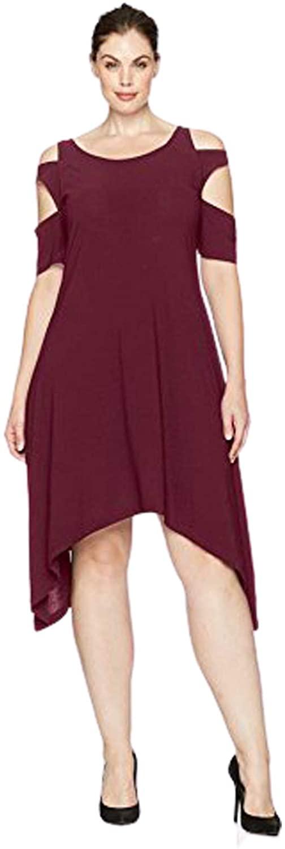 Love Scarlett Women's Plus Size Triple Arm Band Hankerchieve Hem Knit Dress