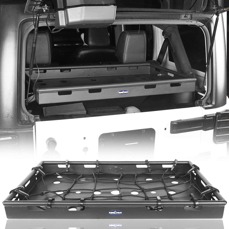 Hooke Road Wrangler Interior Cargo Basket Rack Security Luggage Carrier Compatible with Jeep Wrangler JK Unlimited 4-Door 2011-2018