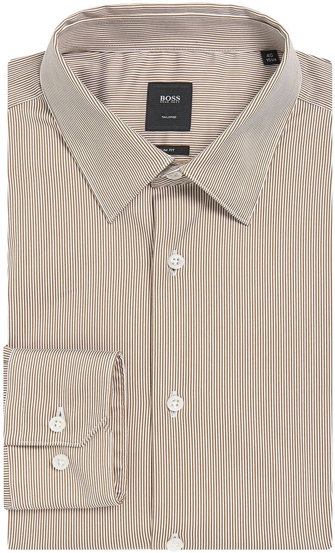 Hugo Boss Men's 'T-Clint' Slim Fit Two Color Stripe Dress Shirt 16, 32/33
