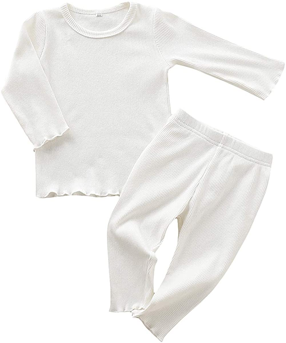 Baby Boy Pajamas Sets Toddler Long Sleeve Solid Color Top+Long Pant Sleepwear Autumn Winter Outfits