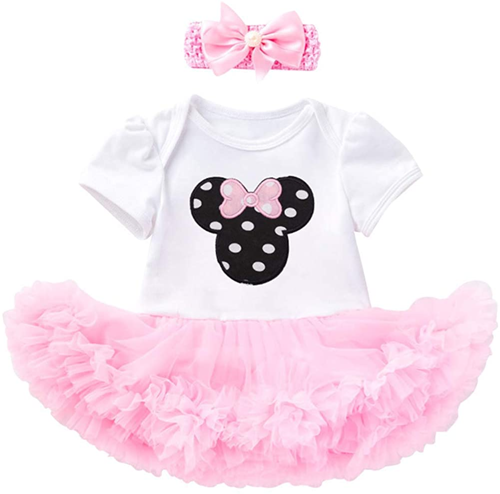 Baby Girls Clothes Romper Dress+ Headband Tutu Skirts Set (0-24 Months)