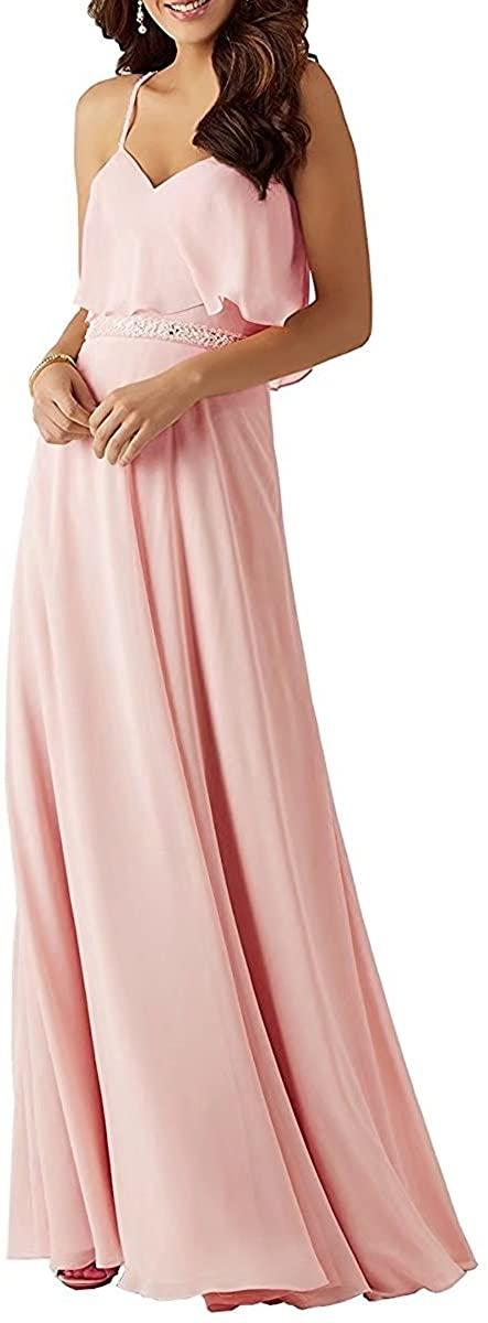 RJOAM Women' A-line Bridesmaid Dress Long Chiffon Spaghetti Straps Prom Dress Evening Gown