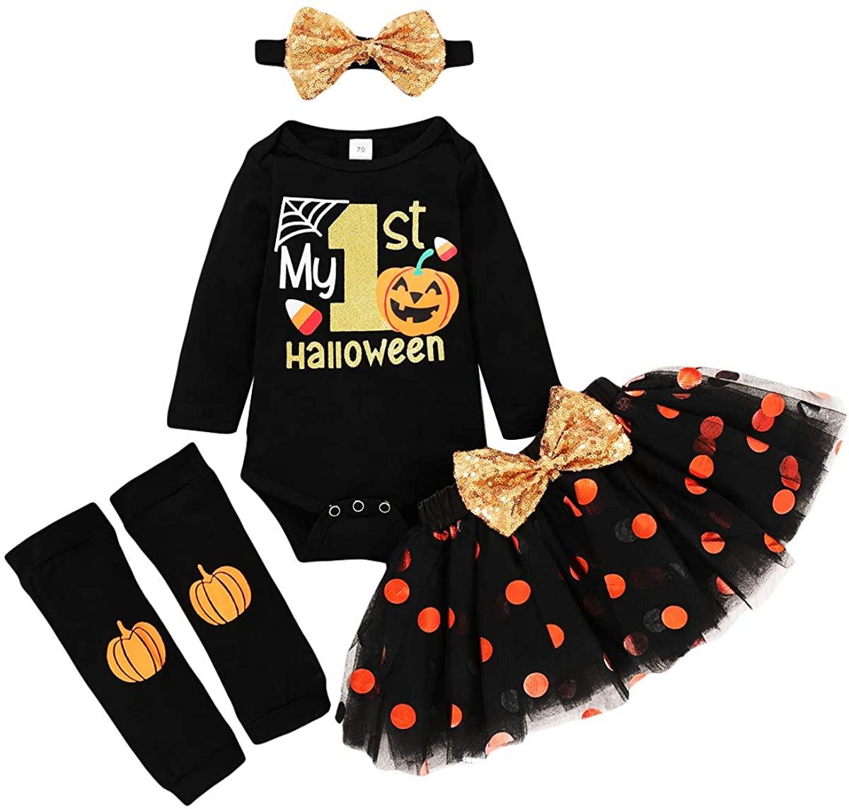 4pcs Halloween Baby Clothes My 1st Halloween Romper+Bowknot Polk Dot Tulle Dress+Pumpkin Leg Warmer+Headband Clothes Set