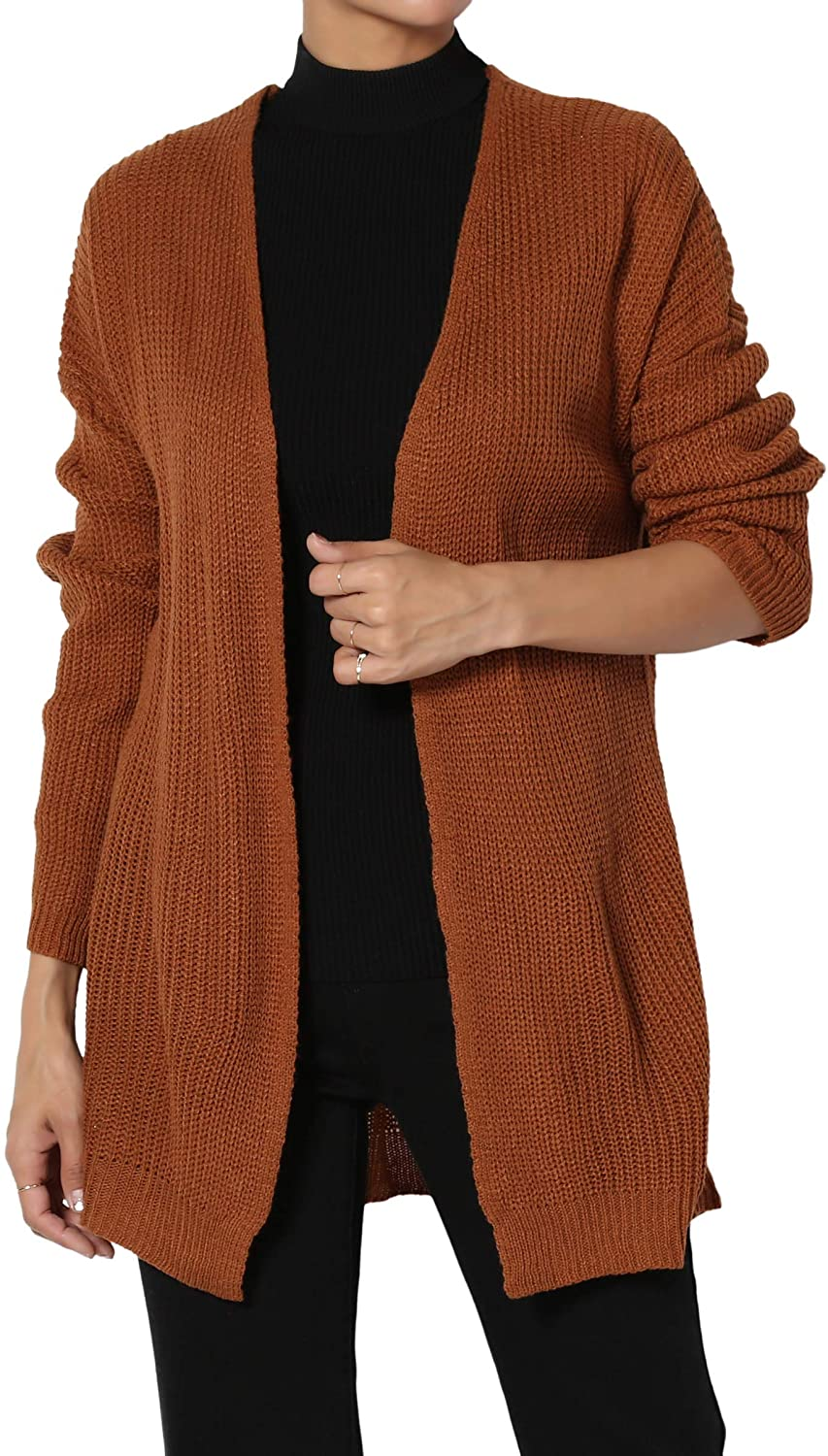 TheMogan Junior's Lace Up Back Rib Knit Sweater Open Front Cardigan Rust M
