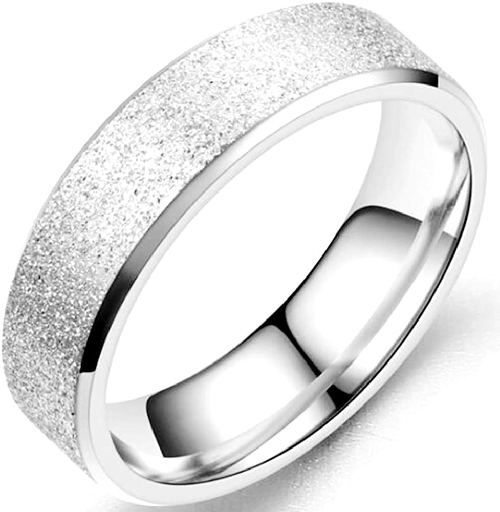 Jude Jewelers 6mm Stainless Steel Sand Stonewash Brushed Surface Classical Simple Plain Wedding Band Ring