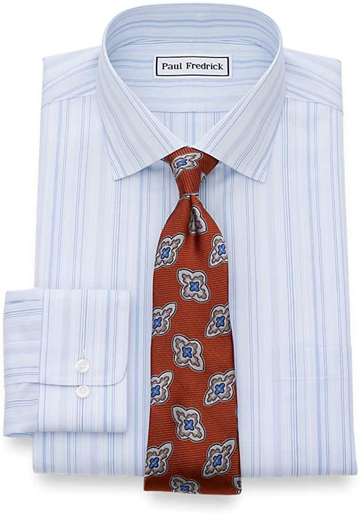 Paul Fredrick Mens Classic Fit Non-Iron Cotton Pinpoint Windowpane Dress Shirt