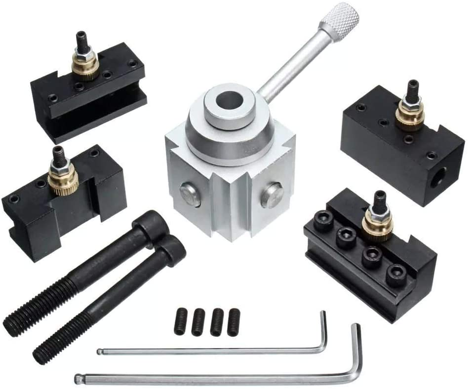 KXA Metal Lathe, Mini Quick Change Tool Post Holder Aluminum Alloy Holder Lathe Tool Lathe Accessories Easy Install and Replace