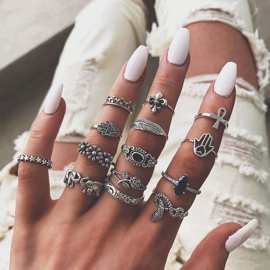 Ludress Vintage Flower Mid Rings Set Silver Bohemian Snake Knuckle Rings Crown Nail Rings Set for Women and Girls(Pack of 14)