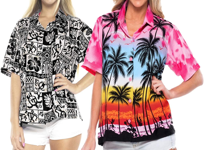 LA LEELA Womens Hawaiian Shirt Office Wear Button up Regular Fit Work from Home Clothes Women Beach Shirt Blouse Shirt Combo Pack of 2 Size S