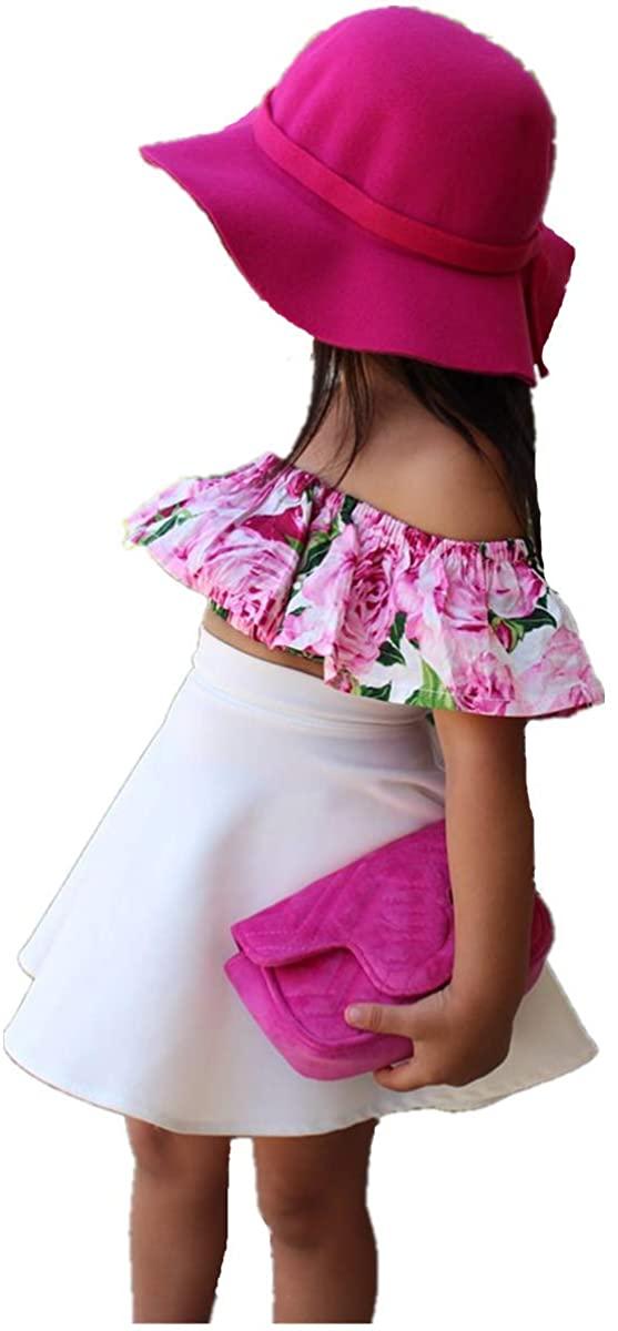 Infant Kids Baby Girls Outfits Floral Ruffle Off Shoulder Crop Top+Solid Color Skirt Set Toddler Summer Clothes
