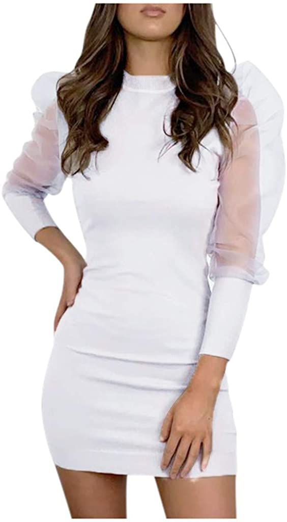 Bishop Sleeve Mini Dress for Women Sexy Casual Long Sleeve Bodycon Party Slim Short Evening Dresses