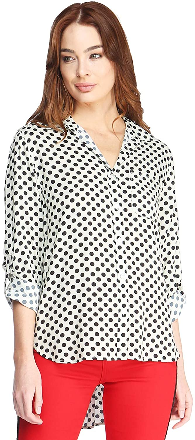 VELVET HEART 'Elisa' Women's Contemporary Button Down Top; Rolled Sleeves, Lightweight. an Instant Classic!