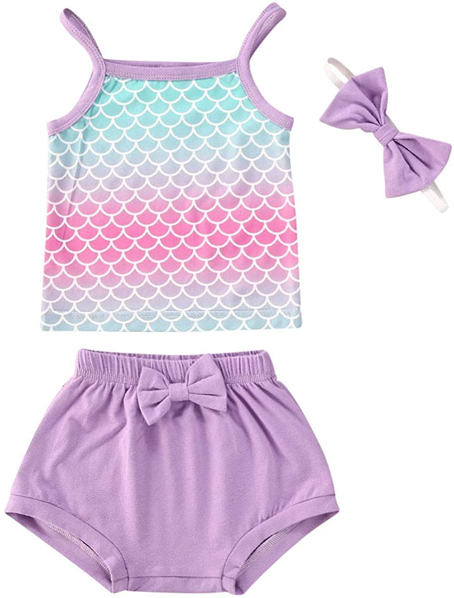 Toddler Baby Girl Clothes Mermaid Sling Tank Tops + Shorts + Headband Outfits Set