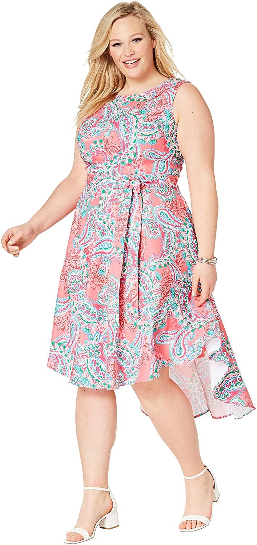 Jessica London Women's Plus Size Tie-Waist Fit & Flare Dress