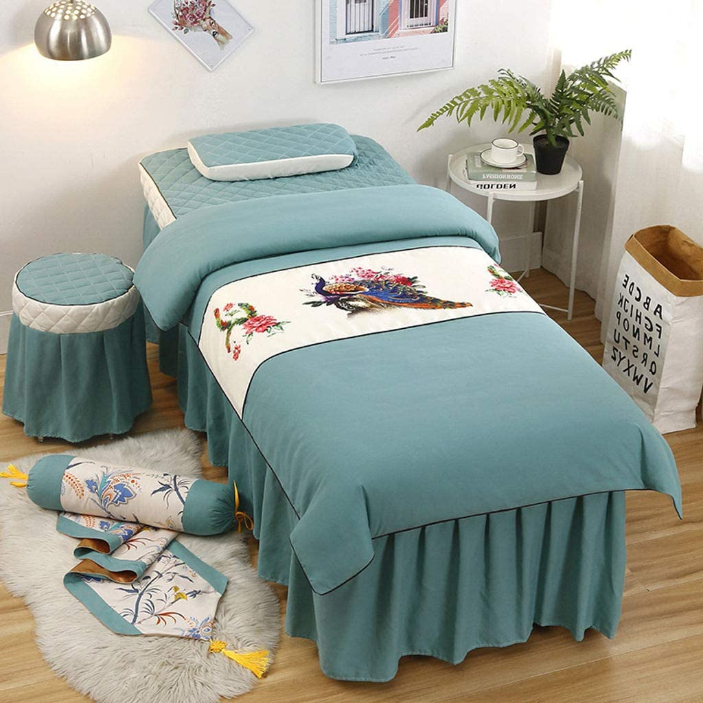Bove Massage Table Sheet Sets 4 Piece Sets,Beauty Table Sheet Set Comfort Simple Physiotherapy All-Season Face Rest Hole-K-70x185cm(28x73inch)