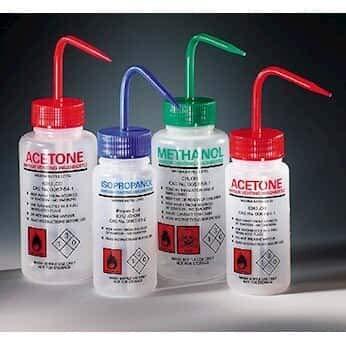 Azlon 506475-0002 LDPE Solvent Venting Wash Bottle, Customizable, 500 mL, 5/pk