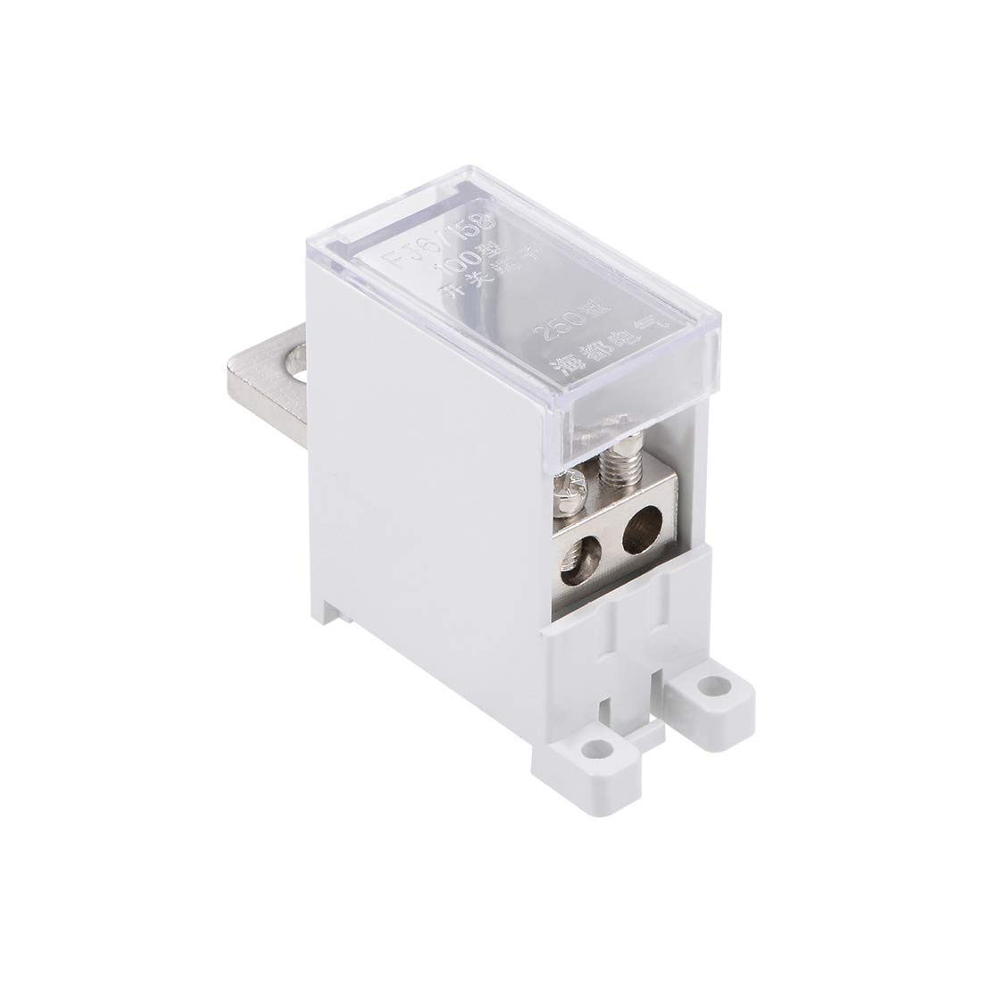 uxcell 1 in 2 Out DIN Rail Terminal Blocks 690V 250A Max Input Distribution Block for Circuit Breaker
