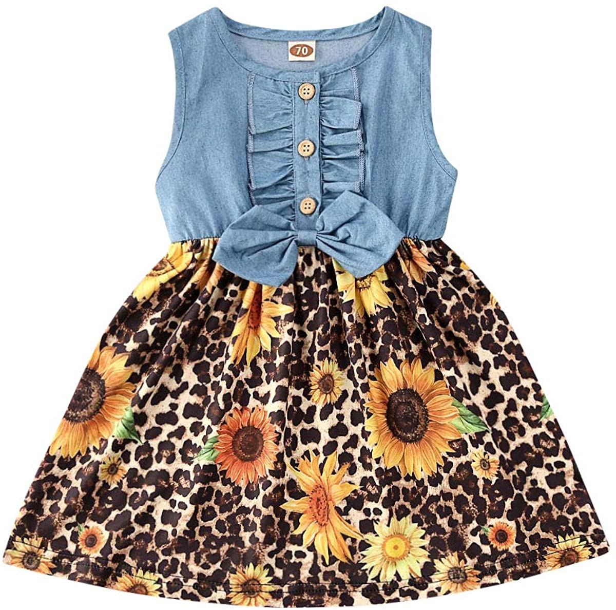 Ambabe Toddler Baby Girl Clothes Denim Sleeveless Button Down Stitching Leopard Sunflower Print Tutu Dress Sundress Outfit