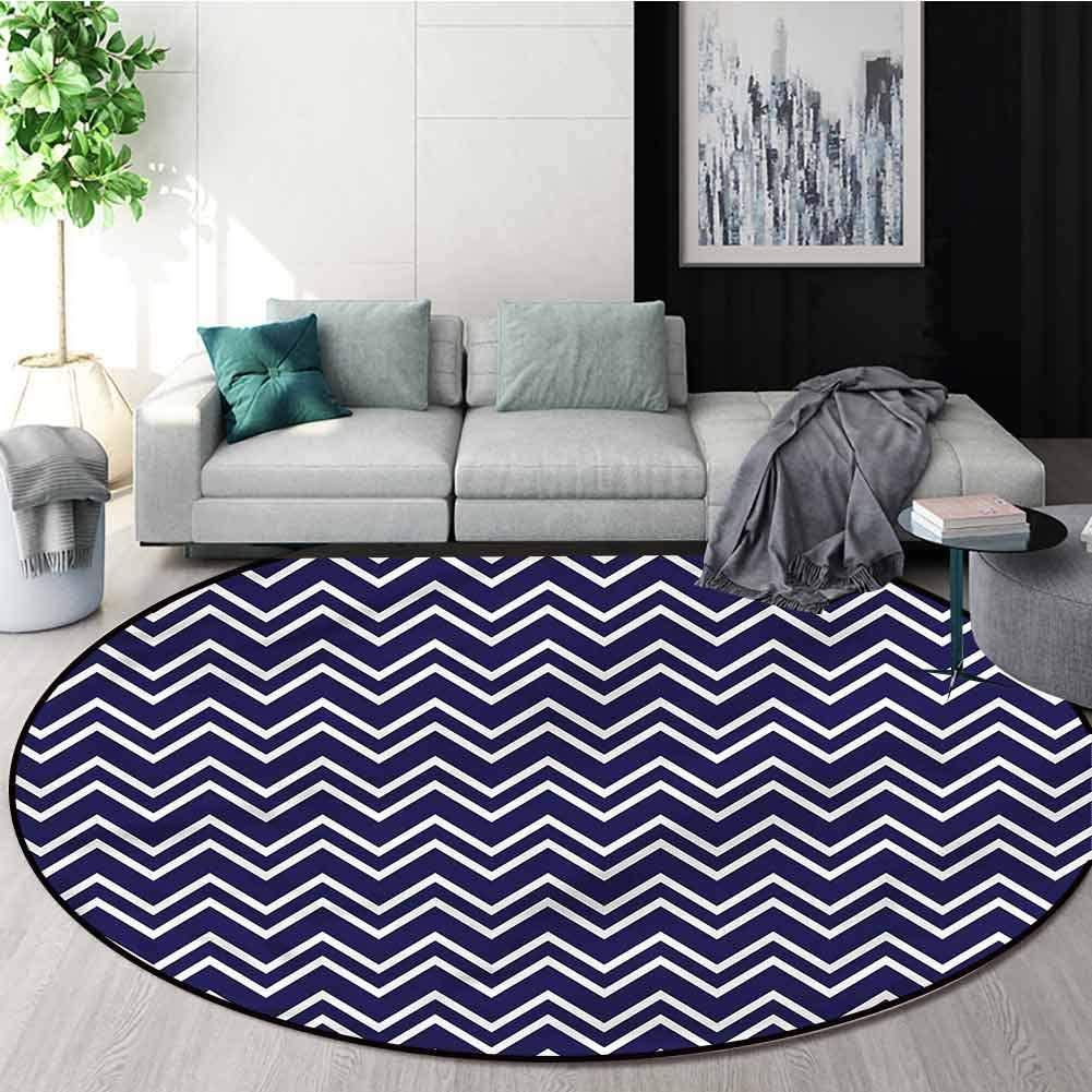 RUGSMAT Navy Blue Modern Washable Round Bath Mat,Zig Zag Modern Pattern Design Non-Slip Fabric Round Rugs for Floor Mat Carpet Diameter-47