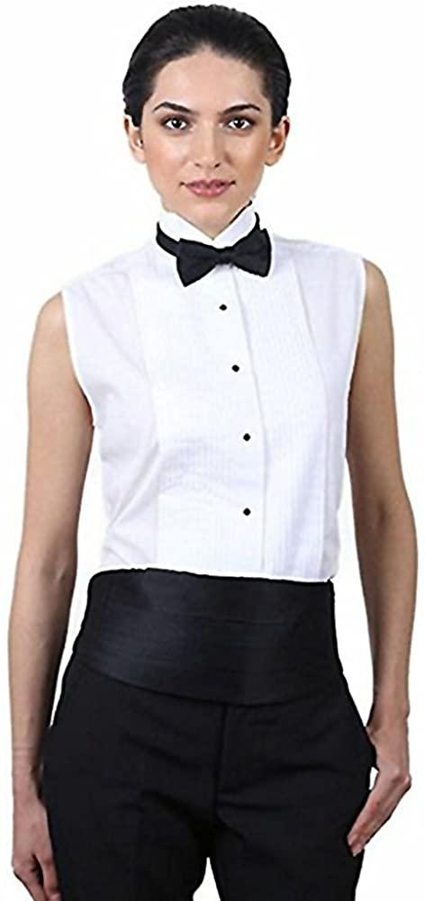 Henry Siegel Women's Tuxedo Shirt Poly/Cotton Sleeveless