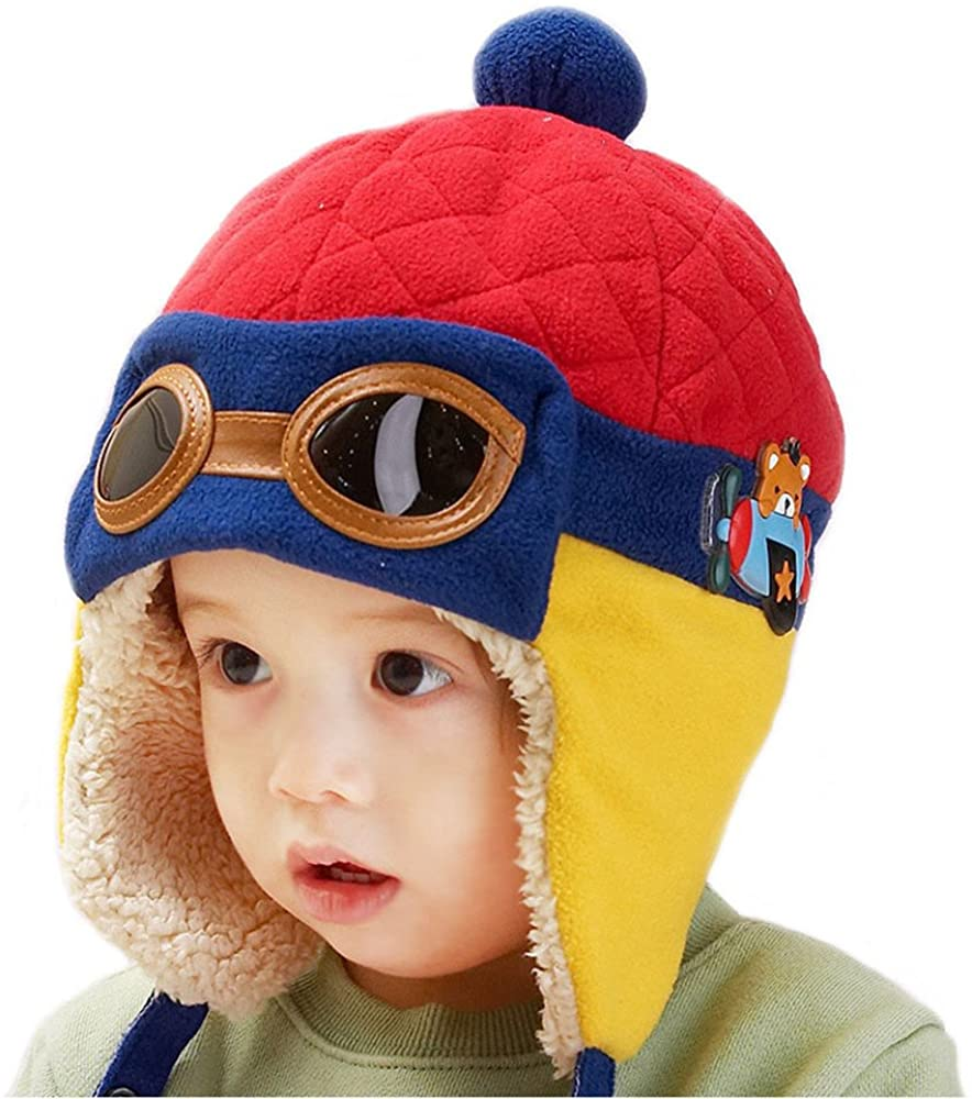 Happy Will Pilot Aviator Fleece Warm Wool Hat Cap with Earmuffs for Kids with Stylus (red)