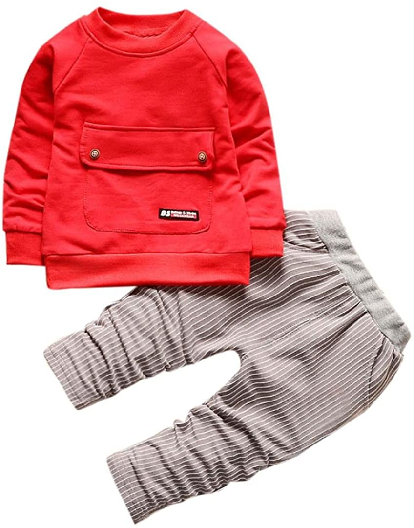 Baby Outfit Clothes 1-4 Years Old,Toddler Boys Girls Kid Autumn Winter T-Shirt Tops+Stripe Long Pants Clothes Set