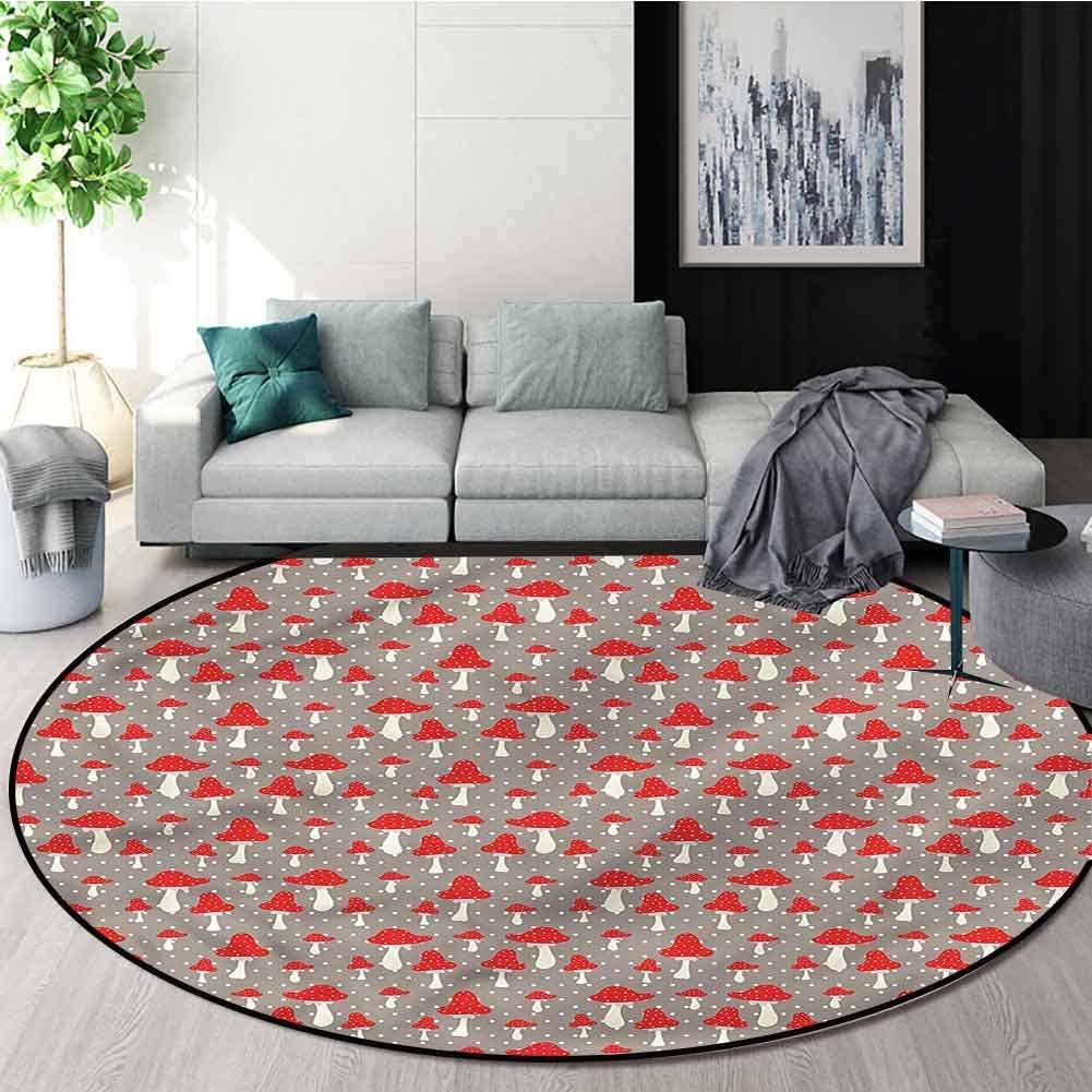 RUGSMAT Mushroom Round Area Rug,Cute Amanita Polka Dot Foam Mat Living Room Decor Diameter-59