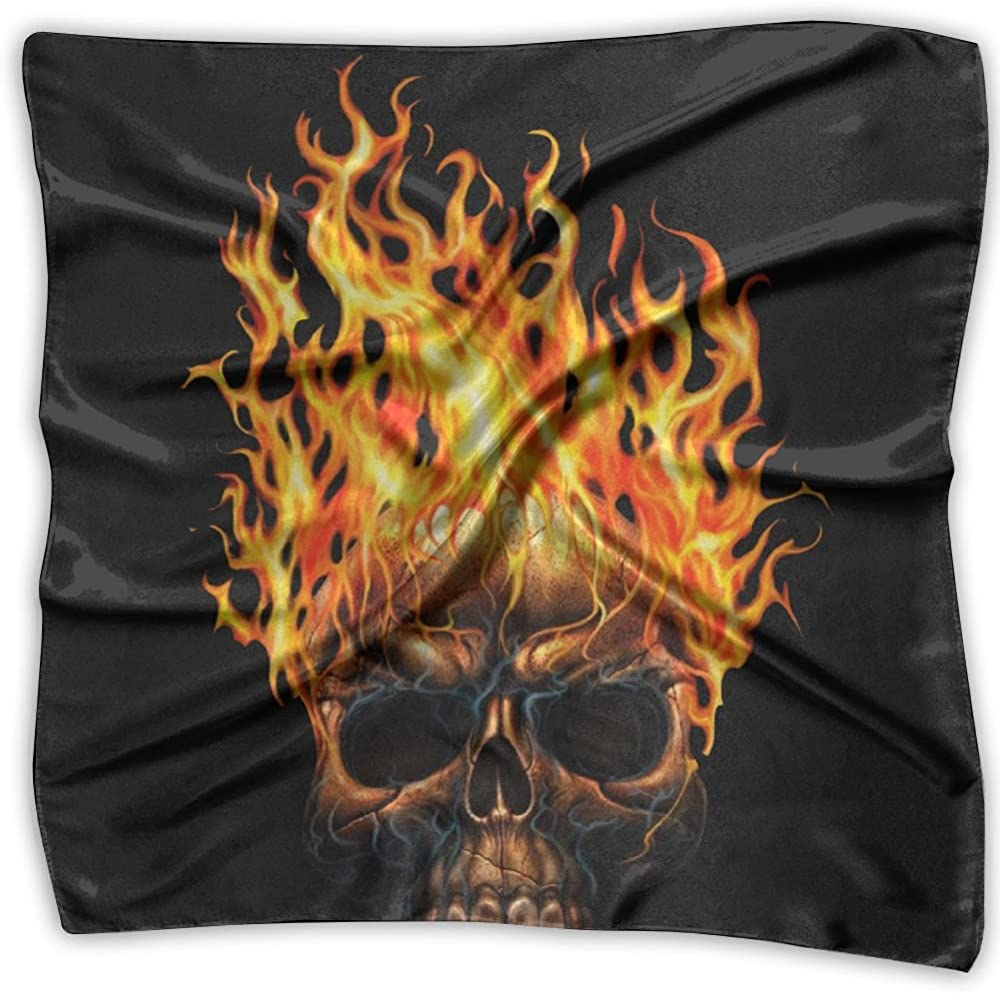 Skull Ghost Heavy Fire Flaming Printed Square Scarf Scarve Head Wrap Shawl