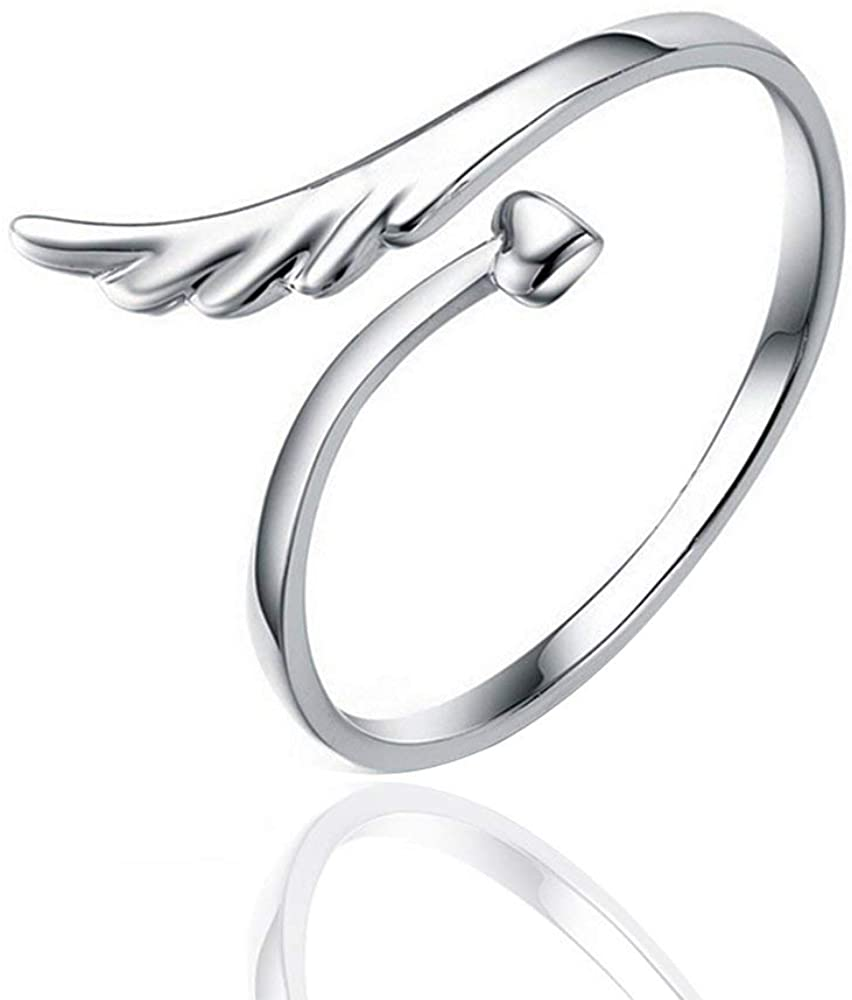 SENFAI Fashion Exquisite Adjustable Silver Ring Angel Wing Heart Finger Rings Jewelry for Women