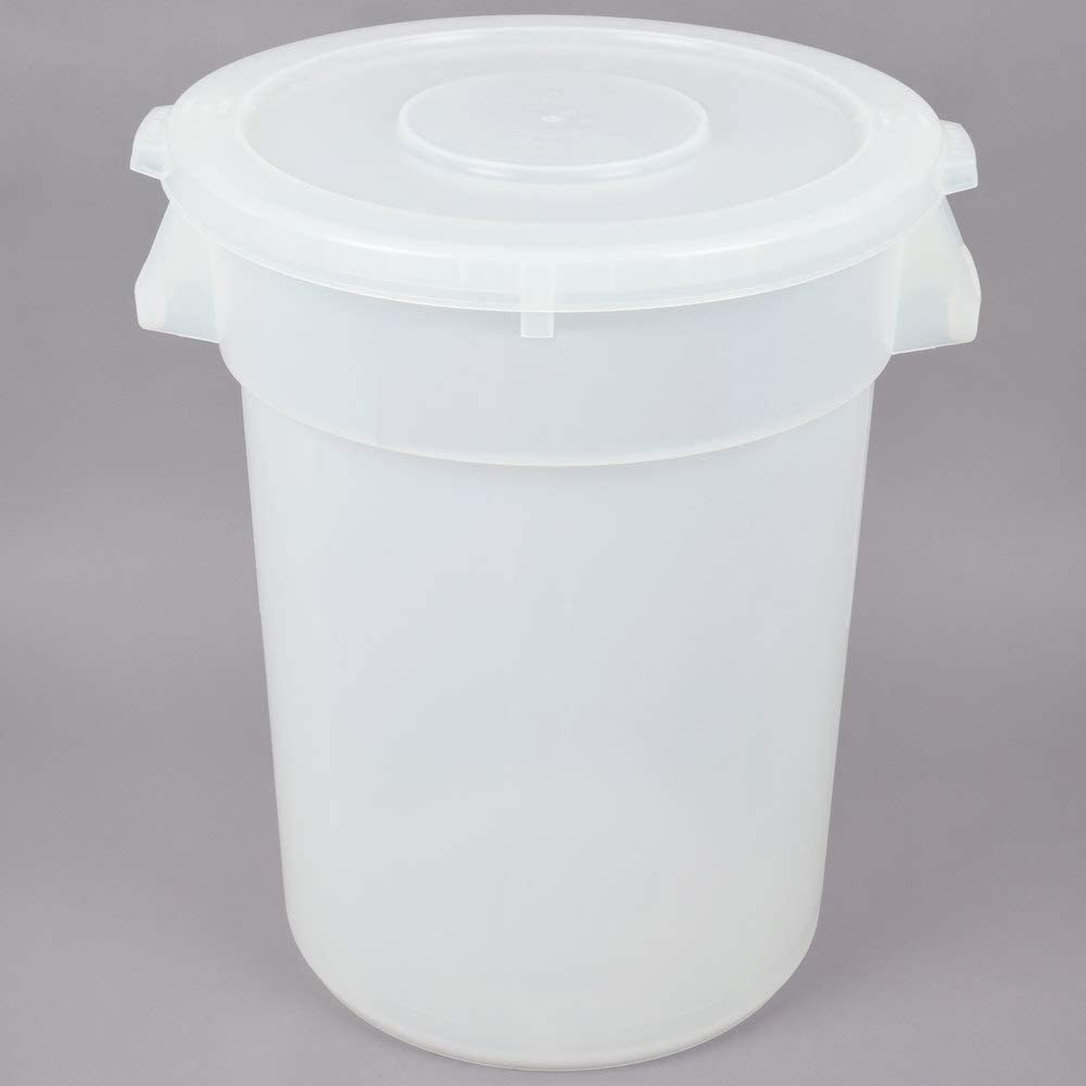 PRO&Family 8 Pack! 32 Gallon Clear Trash Can with Yellow Lid. Commercial Trash Container. Ingredient bin. Garbage. Waste Bin. Home, Office Trash Can. Commercial