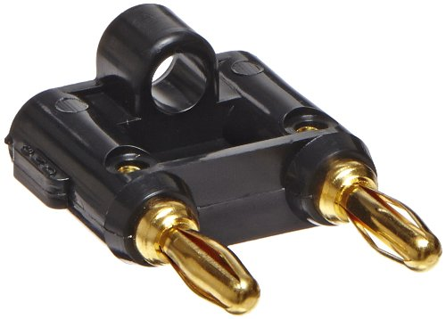 Pomona 4892-0 Brass Stackable Double Banana Plug with Cable Guide, Gold Plated Finish, 1.56