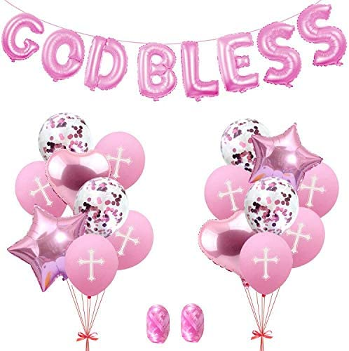 God Bless Balloons, Confirmation Balloons, First Communion Balloons, Cross Balloons for Baptism, Baptism Cross Balloons, Baptism Decorations, God Bless Banner Baptism, Baby Shower (Pink)