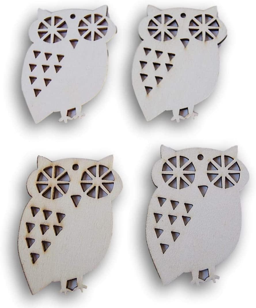 Miniature Laser Cut Wood Shapes - Owls - 4 Piece