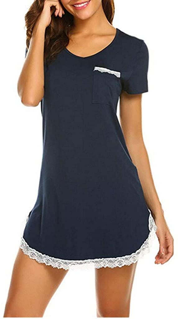 BUETERE Short Sleeve Nightgowns for Women, Cute Pajama Top Buttom Down Sleep Shirt Dress