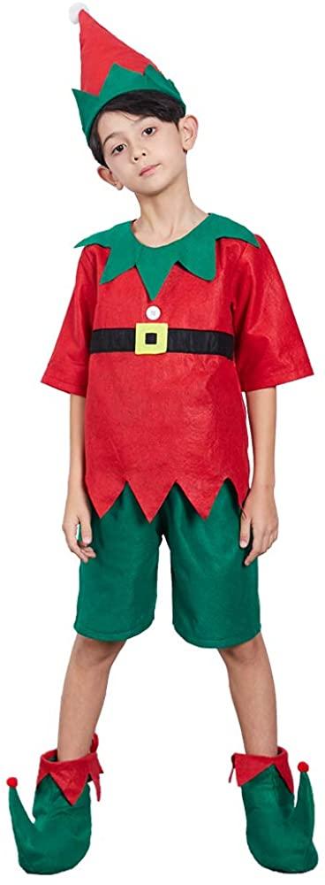 EraSpooky Elf Costume Adult and Child Christmas Fancy Dress Costume Santa Helper Xmas Outfit