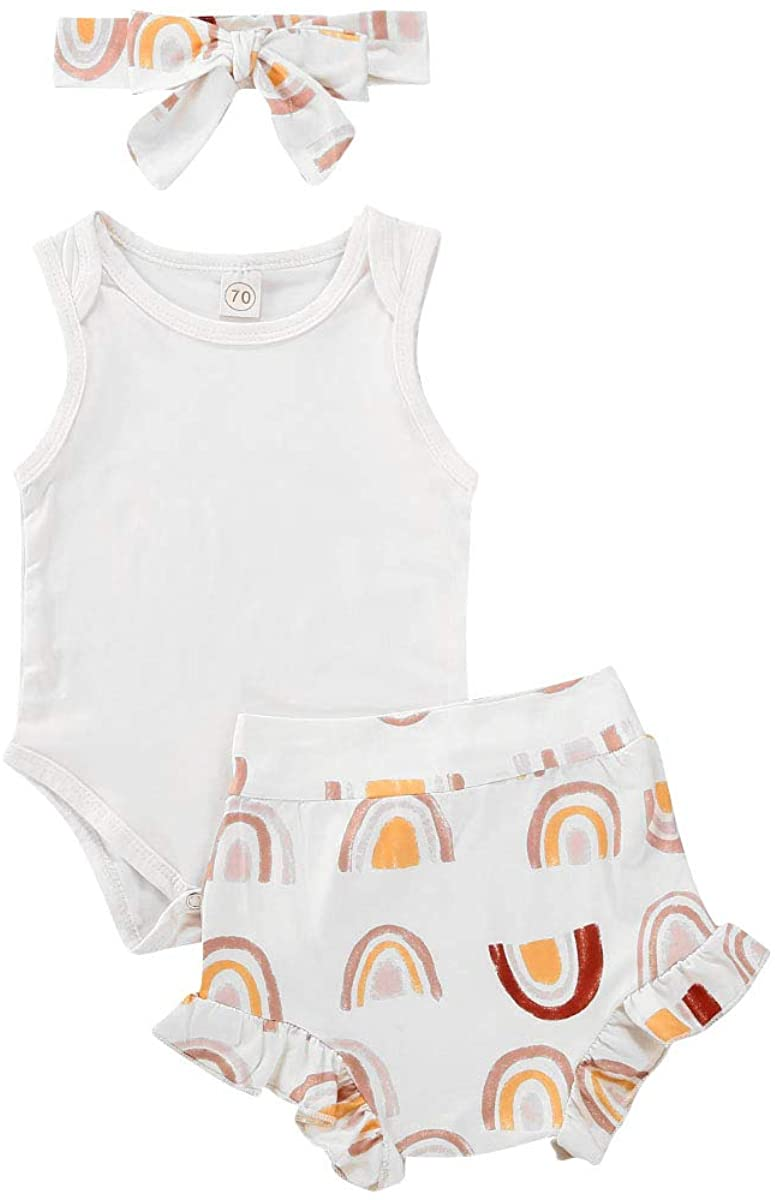 Newborn Infant Baby Girl Clothes Set Sleeveless Romper Jumpsuit Playsuit Ruffled Shorts Headband Summer Outfits Sets