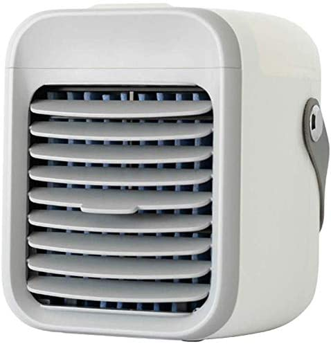 Rechargeable Water-Cooled Air Conditioner,Portable Cooler Fan,Personal Air Conditioner Fan, Desk Cooling Fan, Mini Air Cooler, Space Evaporative Cooler, 3 Speed, 7 LED Lights, 2000mAh Battery