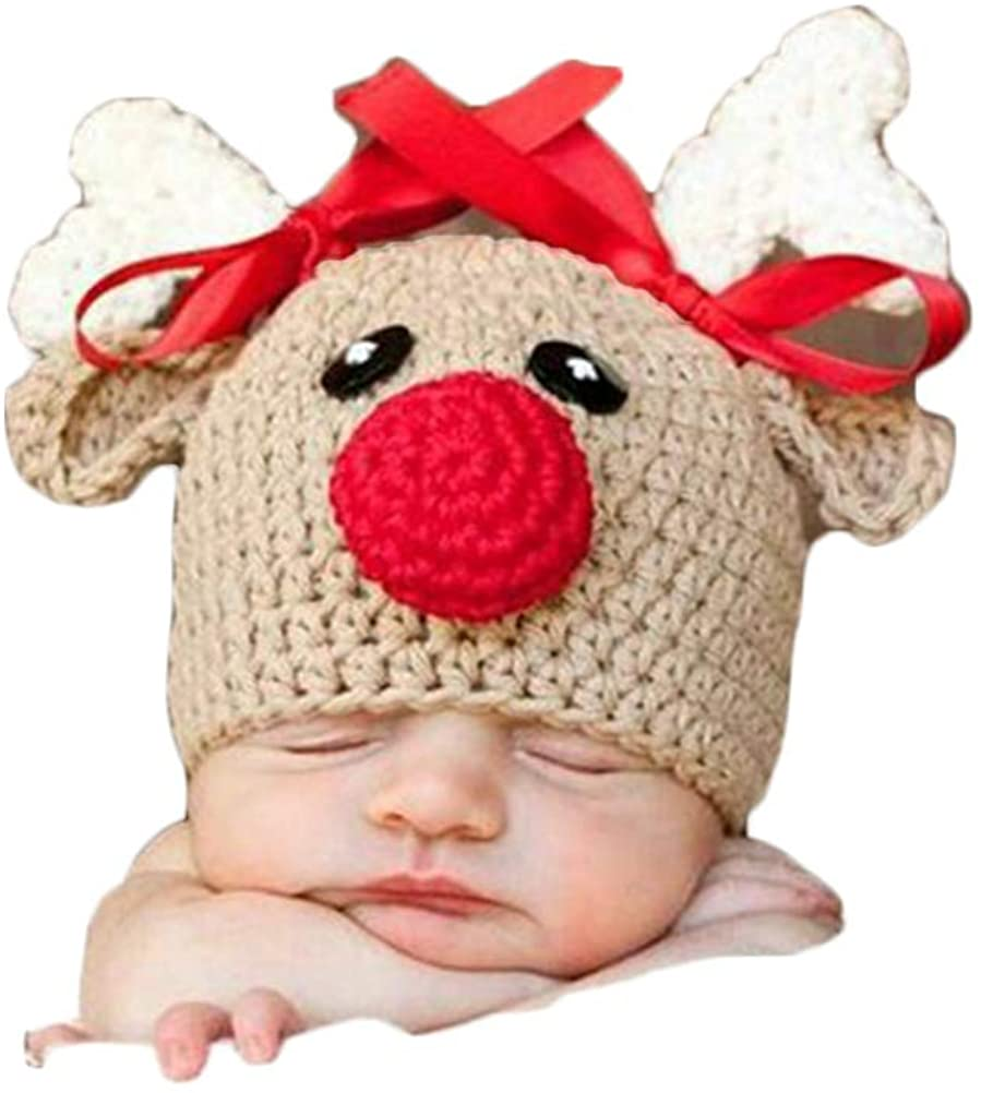Newborn Baby Photo Shoot Outfits Crochet Costume Knitted Christmas Deer Lovely Boy Girls Hat Photography Props