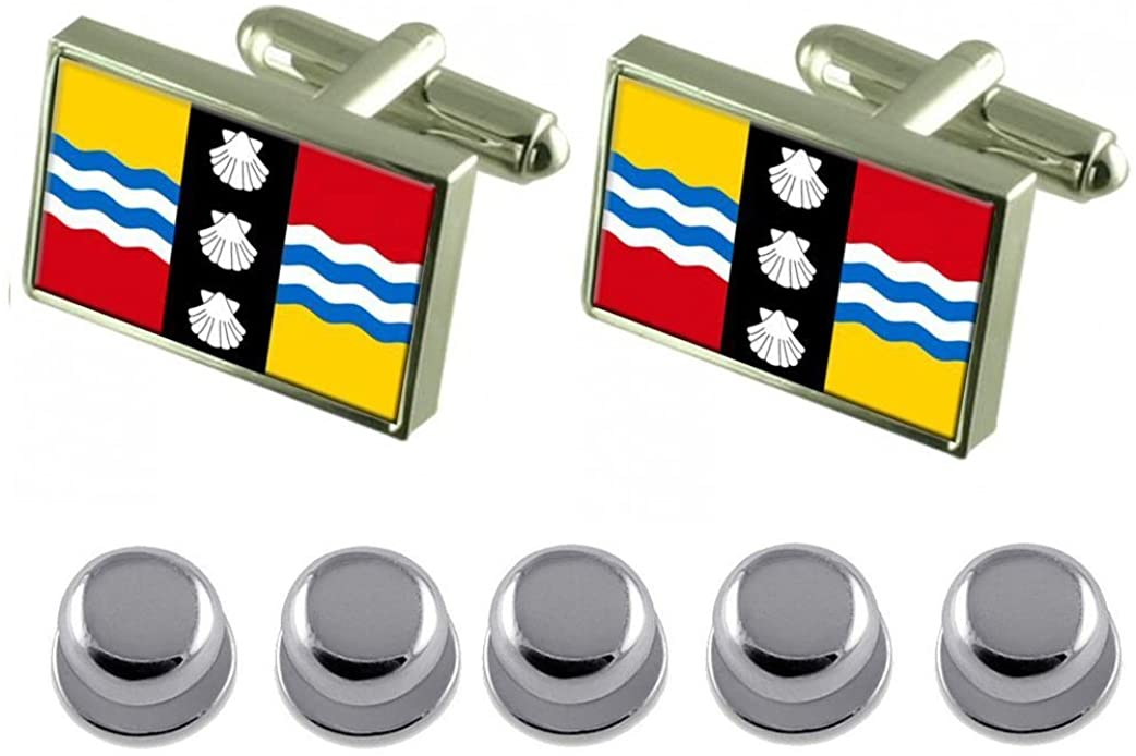 Select Gifts Shirt Dress Studs Bedfordshire County England Flag Cufflinks