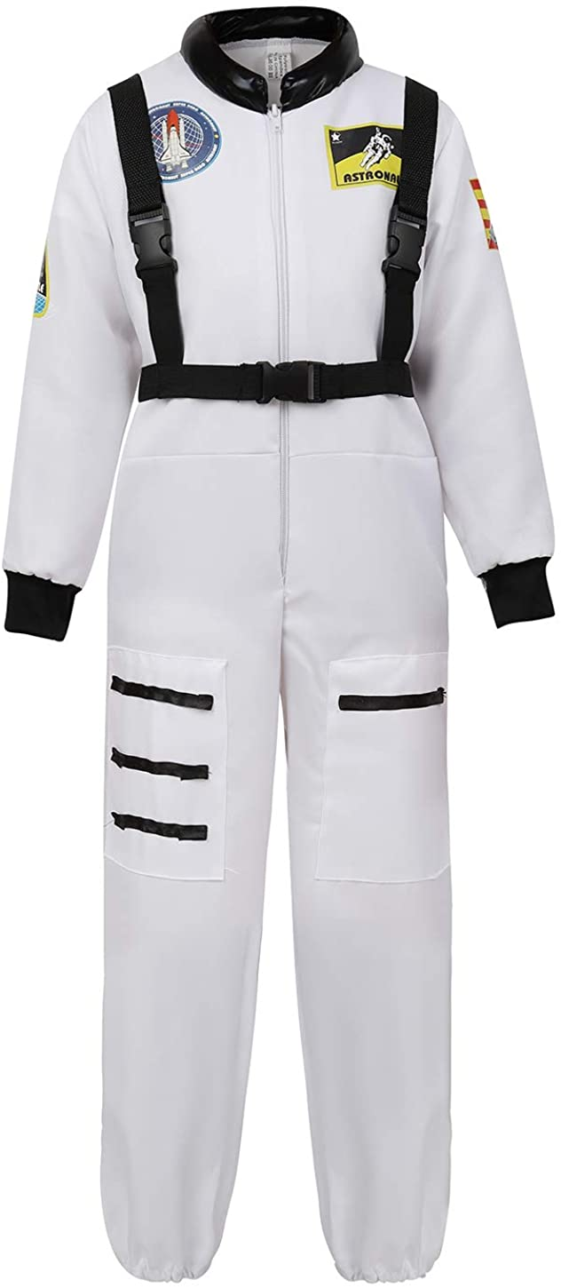 YAQKUOA Children's Astronaut Costume Role Play Space Suit Jumpsuit for Kids Boys Girls Teens Toddlers