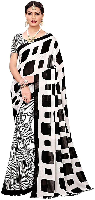 Indian Decor & Attire Georgette with Blouse Piece Saree (Milky BAR White_ Black_ Free Size)